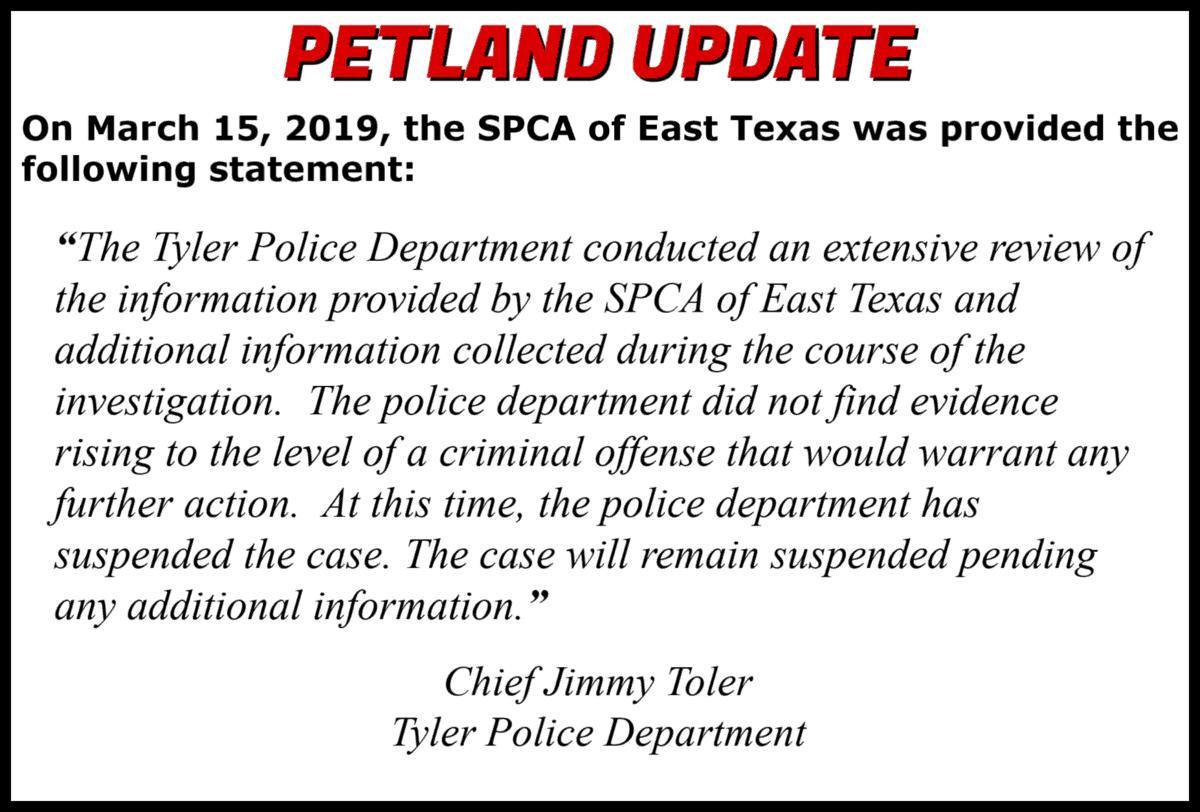 PETLAND Investigation | SPCA of East Texas